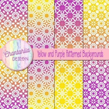 free yellow and purple patterned digital paper backgrounds