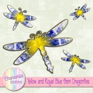 yellow and royal blue gem dragonflies