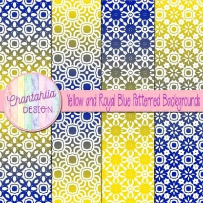 free yellow and blue patterned digital paper backgrounds