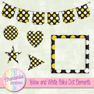 free yellow and white polka dot scrapbook elements