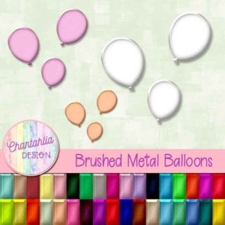 brushed metal balloons design elements
