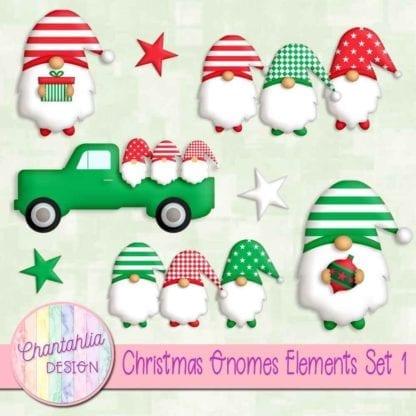 Free christmas gnomes design elements