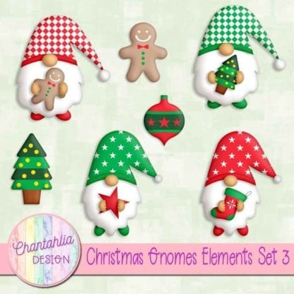 Free christmas gnomes scrapbook design elements