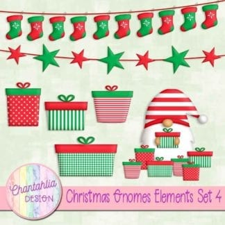 Free christmas gnomes scrapbook design elements