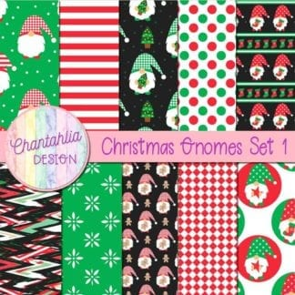 Free christmas gnomes digital papers