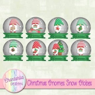Free christmas gnomes snow globes clipart