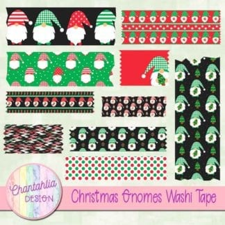 Free christmas gnomes scrapbook washi tape