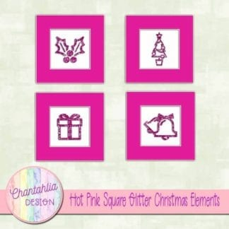hot pink square glitter christmas elements
