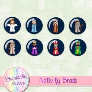 brads in a Christmas Nativity theme
