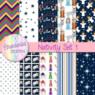 digital papers in a Christmas Nativity theme