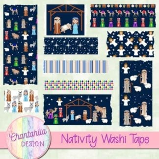 washi tape in a Christmas Nativity theme