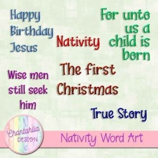 word art in a Christmas Nativity theme