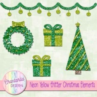 neon yellow glitter christmas elements