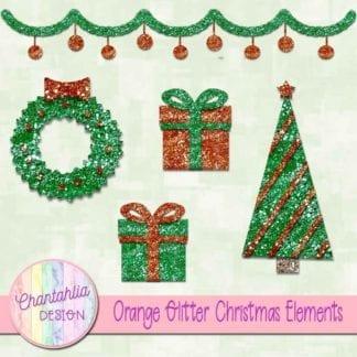 orange glitter christmas elements