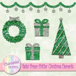 pastel green glitter christmas elements