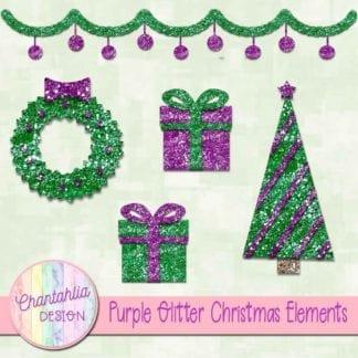 purple glitter christmas elements