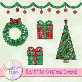 red glitter christmas elements