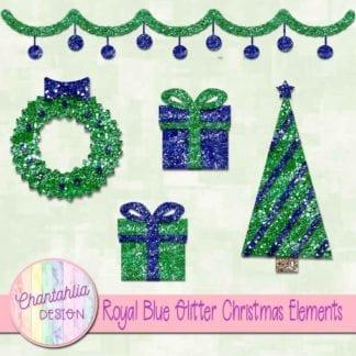 royal blue glitter christmas elements