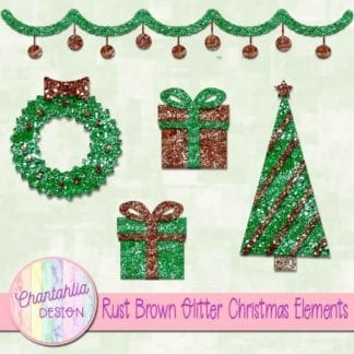 rust brown glitter christmas elements