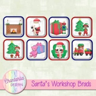 Free santa's workshop scrapbook brads