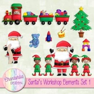 Free santa's workshop scrapbook elements