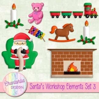 Free santa's workshop digital design elements