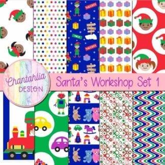 free santa's workshop digital papers