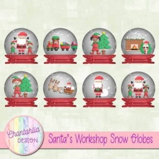free santa's workshop snow globes clip art