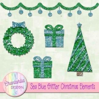 sea blue glitter christmas elements