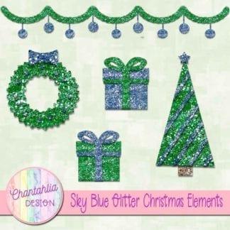 sky blue glitter christmas elements