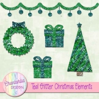 teal glitter christmas elements