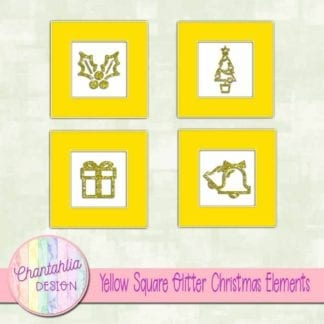yellow square glitter christmas elements