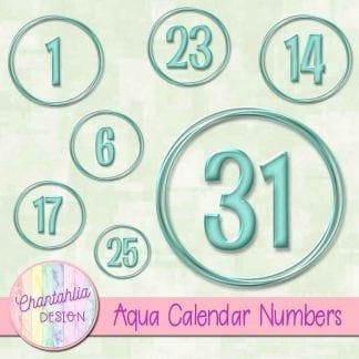 aqua calendar numbers design elements