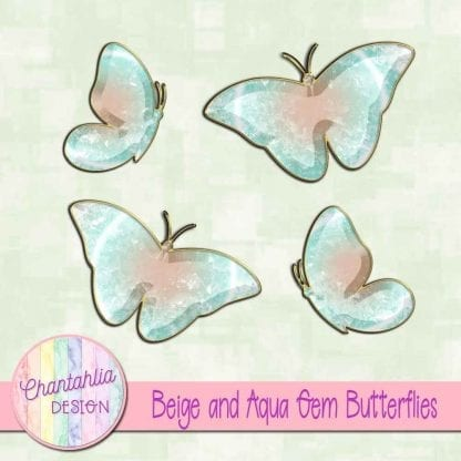 Free butterflies in a beige and aqua gem style