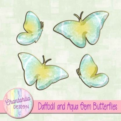 Free butterflies in a daffodil and aqua gem style