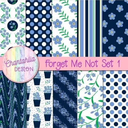 free forget me not digital papers