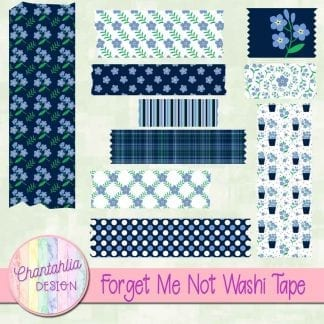 free forget me not scrapbook washi tape