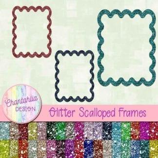 free scalloped glitter frames
