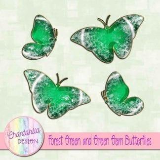 Free butterflies in a green gem style