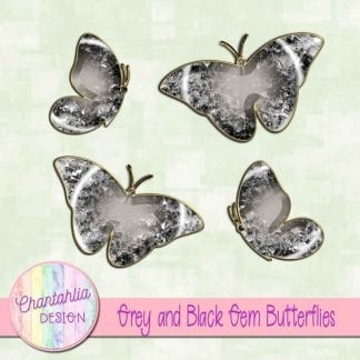 Free butterflies in a grey and black gem style