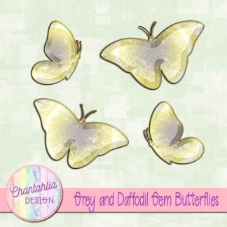 Free butterflies in a grey and daffodil gem style