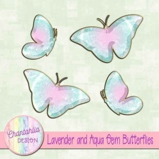 Free butterflies in a lavender and aqua gem style