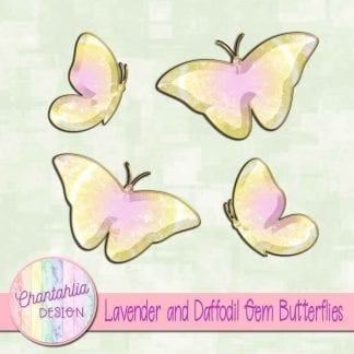 Free butterflies in a lavender and daffodil gem style