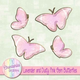 Free butterflies in a lavender and pink gem style