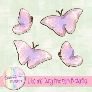 Free butterflies in a lilac and pink gem style