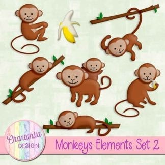 Free design elements / clip art in a Monkeys theme
