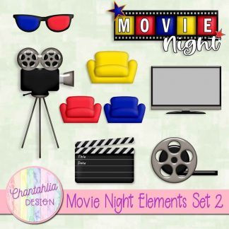 free scrapbook design elements in a movie night theme