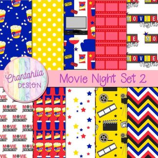 Free digital papers in a Movie Night theme.