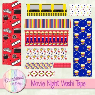 Free scrapbook movie night washi tape