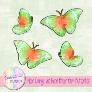 Free butterflies in a neon orange and neon green gem style